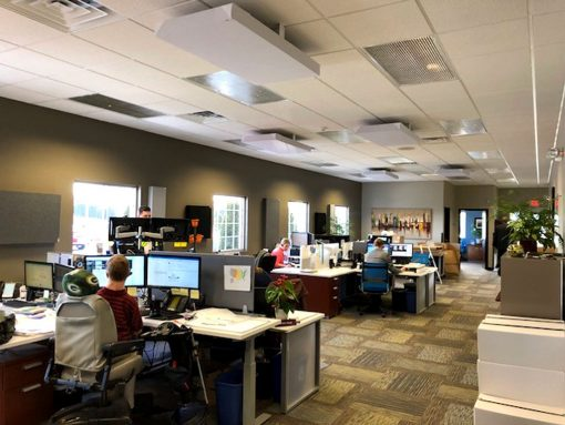 Shaun Schroeder JSA Insurance Office Ceiling Cloud Brackets GIK Acoustics 242 panels