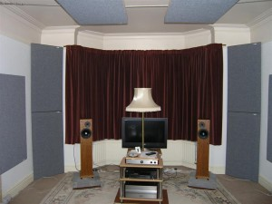 GIK Acoustics Tri Traps in Listening Room